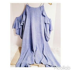 "Ruffled Cold Shoulder Dress in ""Washed Blue"""